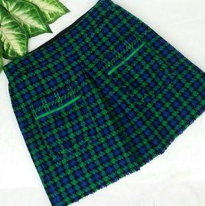Zara Collection Blue/Green/Black Plaid Skirt Sz M